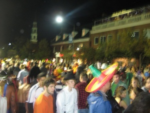 crowd on franklin street during Halloween