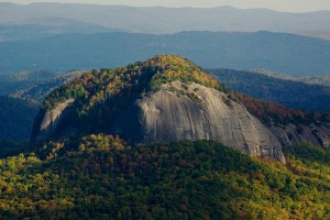 Looking glass rock surrounded by forests.