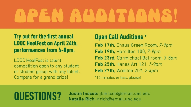 LDOC HeelFest audition schedule