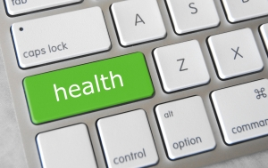Keyboard with health button highlighted in bright green.