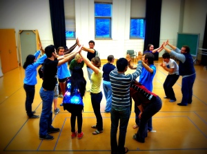 Students playing a theatre game called
