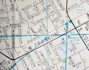 Old map of Chapel Hill, NC.
