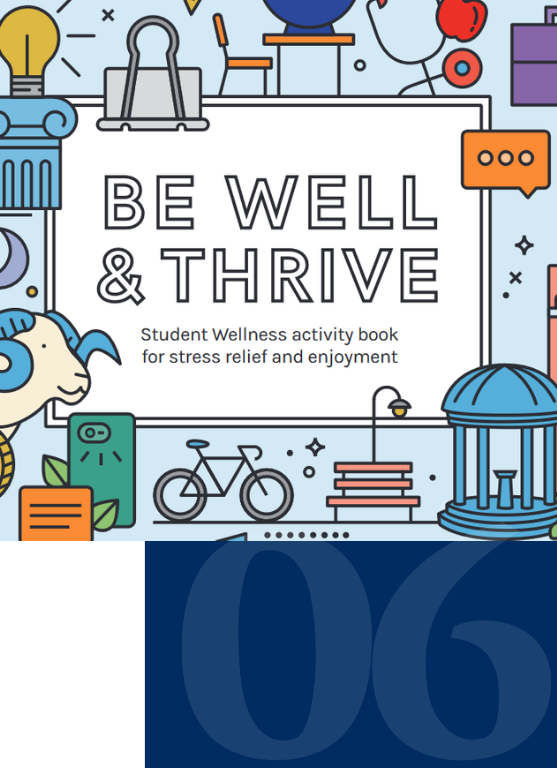 Activity book cover shows various UNC and wellness related icons