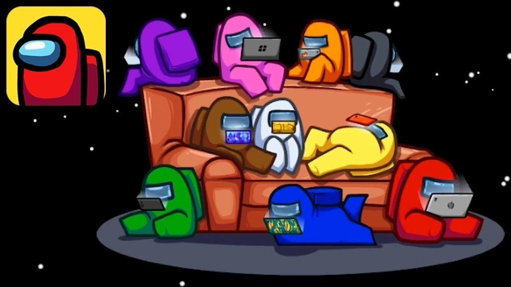 Graphic of astronauts on various devices lounging around on a couch